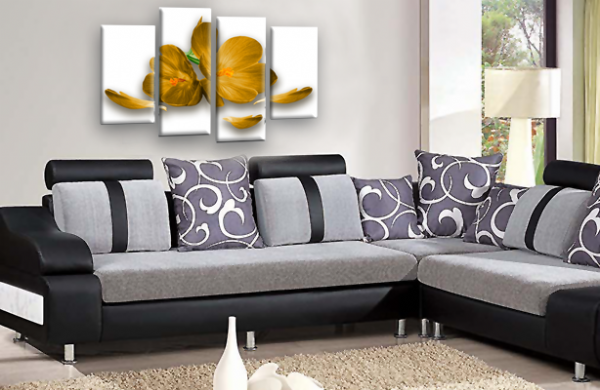 Floral Flower Wall Art Mustard Gold Orchid Canvas Split Picture Print